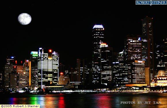 Singapore Skyline - Scenic Moon Night View from Marina Promenade